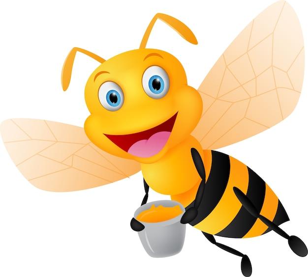 Caricature d'abeille heureuse avec du miel Vecteur Premium