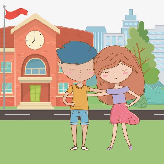 Caricature d'adolescent garçon et fille Vecteur gratuit