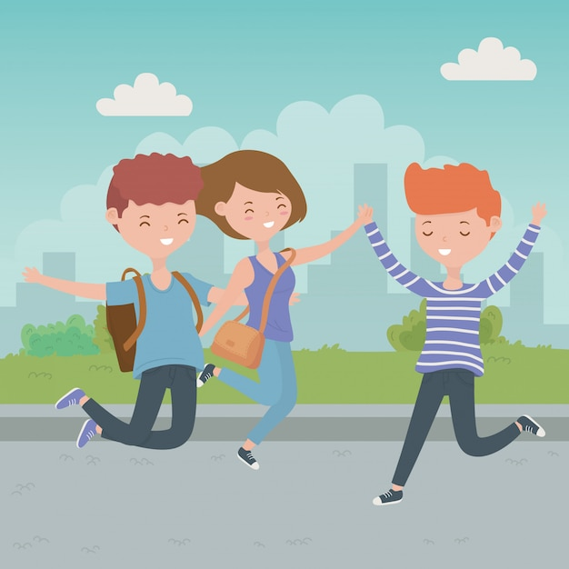 Caricature d'adolescent garçons et fille Vecteur gratuit