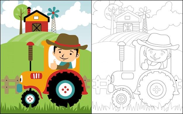 Caricature d'agriculteur sur tracteur jaune Vecteur Premium