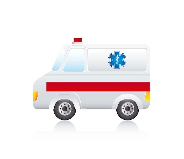 Caricature d'ambulance avec une ombre sur le vecteur de fond blanc Vecteur Premium