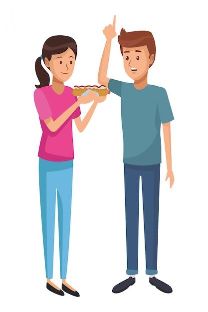 Caricature de l'amour couple Vecteur Premium