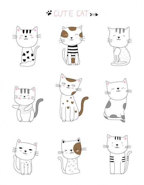 Caricature D'animal Chat Mignon Style Blanc Vecteur Premium