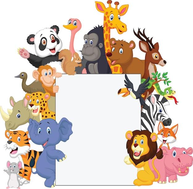 Caricature d'animal sauvage avec signe vierge Vecteur Premium
