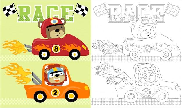 Caricature d'animaux sur la voiture de course. Vecteur Premium