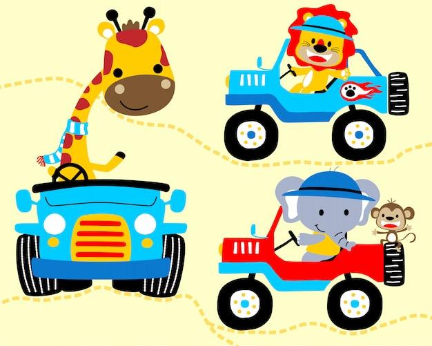 Caricature d'animaux sur des voitures Vecteur Premium