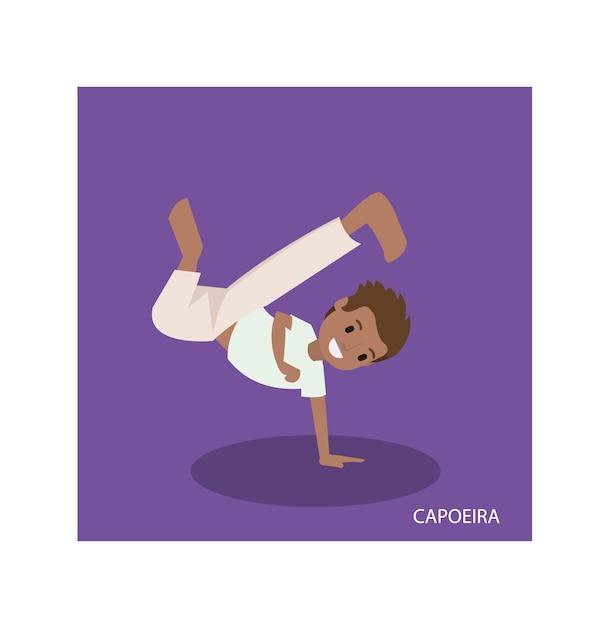 Caricature d'arts martiaux de capoeira avec des poses de main debout Vecteur Premium