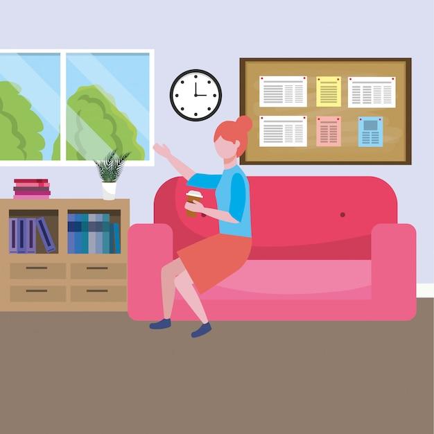 Caricature d'avatar de femme d'affaires Vecteur gratuit