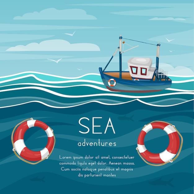 Caricature d'aventure en mer avec remorqueur Vecteur Premium