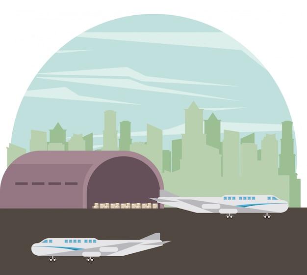 Caricature d'avions de transport commercial passagers Vecteur gratuit