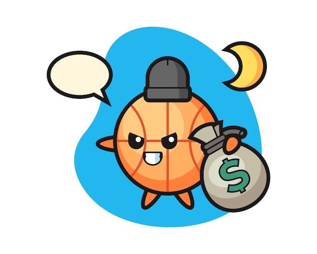 Caricature De Basket-ball A Volé L'argent Vecteur Premium