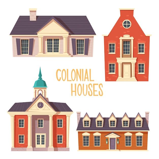 Caricature De Bâtiment De Style Colonial Rétro Urbain Vecteur gratuit