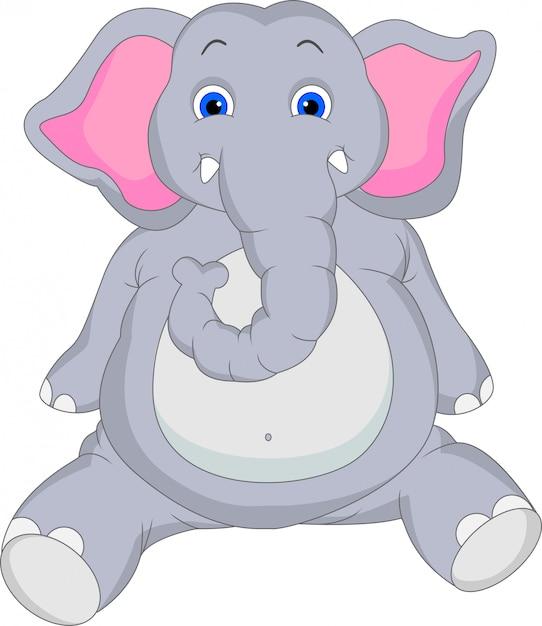 Caricature de bébé éléphant Vecteur Premium