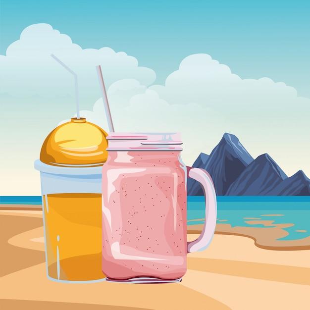 Caricature de boisson aux fruits tropical smoothie Vecteur gratuit