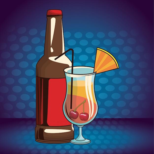 Caricature de boissons alcoolisées Vecteur Premium
