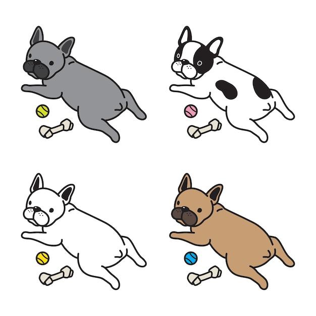 Caricature de bouledogue français chien vecteur Vecteur Premium