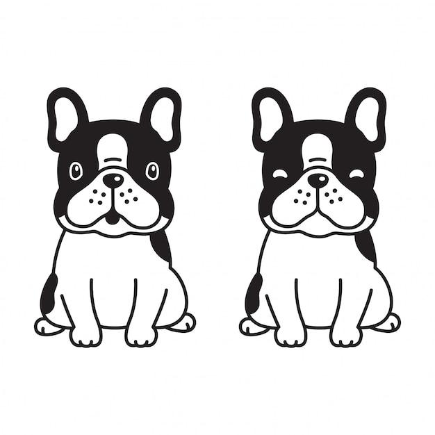 Caricature de bouledogue français vecteur chien patte Vecteur Premium