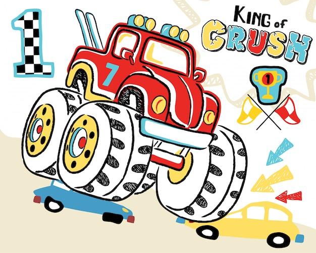 Caricature de camion monstre Vecteur Premium