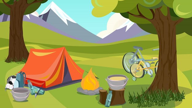 Caricature camping été tente bois montagne vallée Vecteur Premium