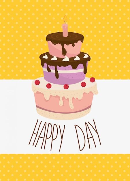 Caricature de carte joyeux anniversaire célébration Vecteur gratuit