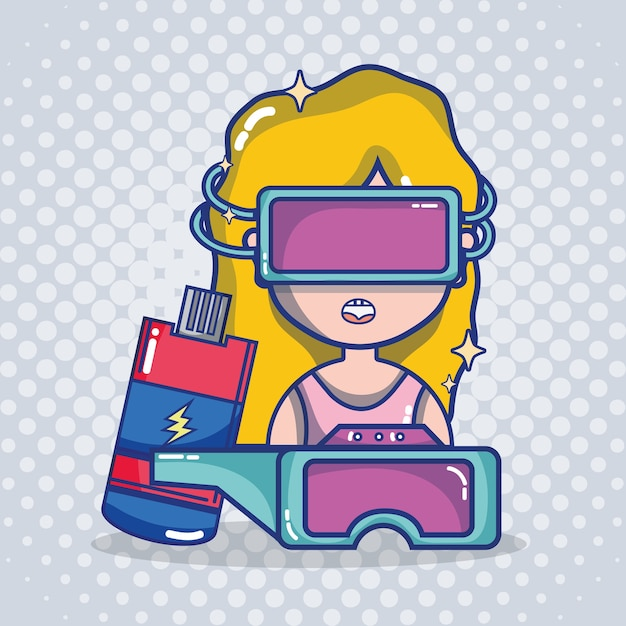 Caricature De Casque De Réalité Virtuelle Vecteur Premium
