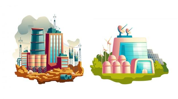 Caricature de centrales électriques modernes et futures Vecteur gratuit