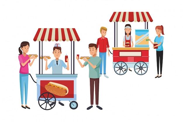 Caricature de chariot de hot-dog Vecteur Premium