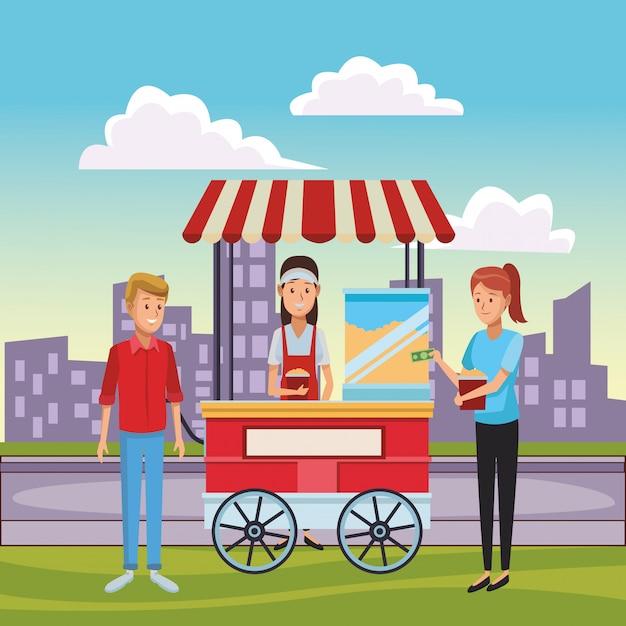 Caricature de chariot de maïs soufflé Vecteur Premium