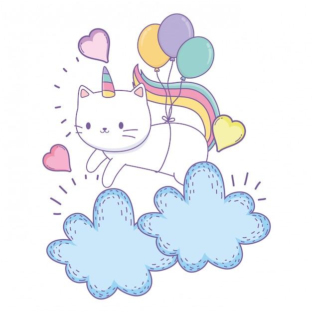 Caricature de chat licorne Vecteur Premium