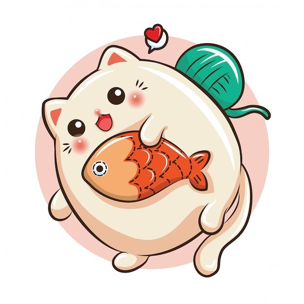 Caricature de chat mignon. concept d'animalerie. Vecteur Premium
