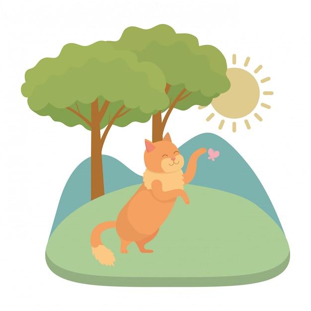 Caricature de chat Vecteur gratuit