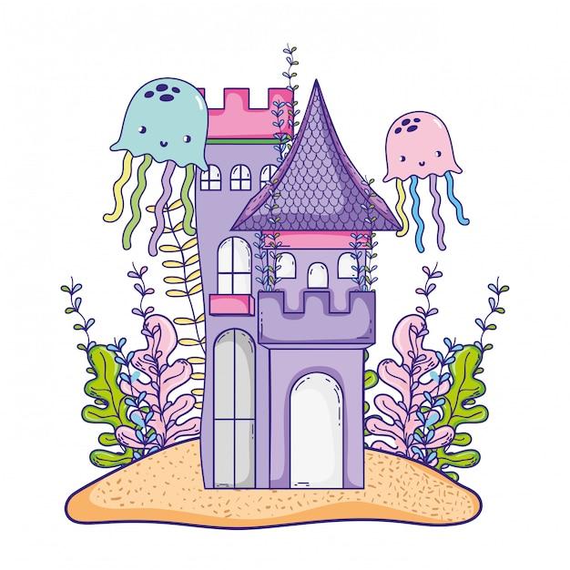Caricature de château sous-marin Vecteur Premium