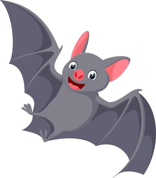 Caricature de chauve-souris volant heureux Vecteur Premium