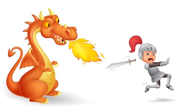 Caricature d'un chevalier courant d'un dragon féroce Vecteur Premium