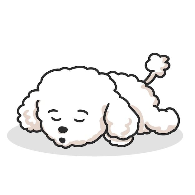 Caricature de chien caniche mignon dormir. Vecteur Premium
