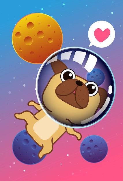 Caricature de chien kawaii dans l'espace. Vecteur Premium