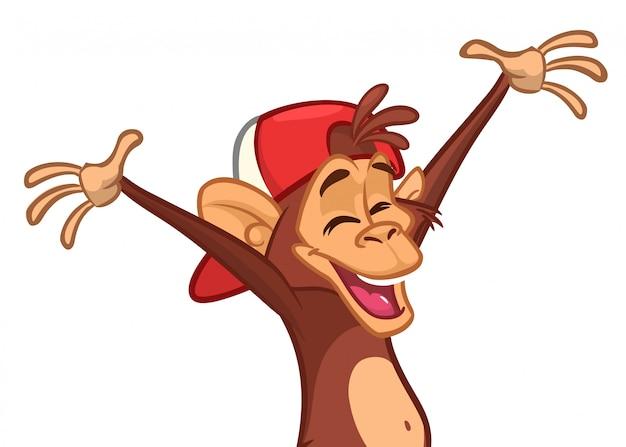 Caricature De Chimpanzé Heureux Vecteur Premium