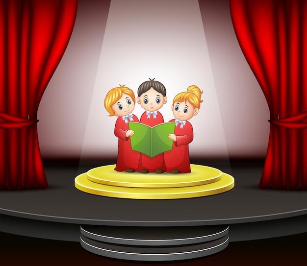 Caricature de la chorale d'enfants jouant sur la scène Vecteur Premium