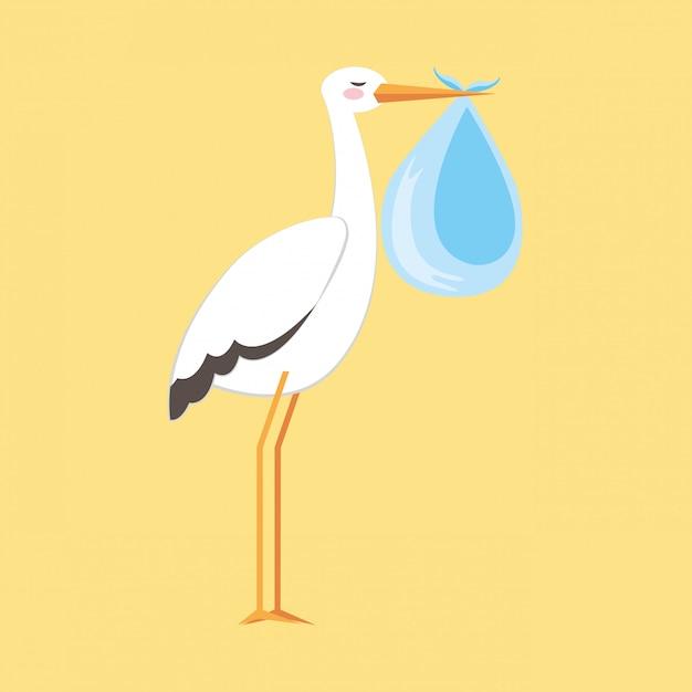 Caricature de cigogne de douche de bébé Vecteur Premium