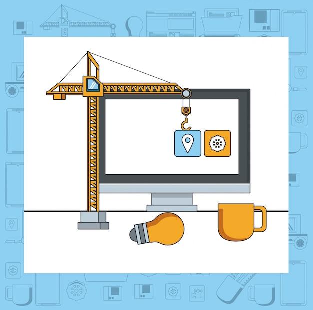 Caricature de concept de support de maintenance de périphérique de technologie Vecteur gratuit