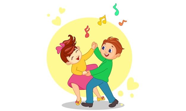 Caricature de couple dansant Vecteur Premium