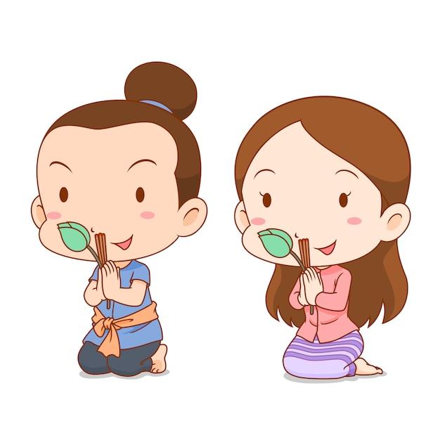 Caricature de couple mignon en costume thaïlandais priant avec bâtons d'encens et lotus. Vecteur Premium