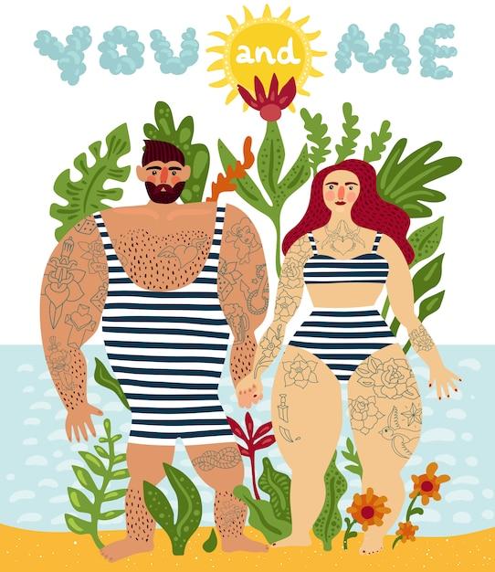 Caricature de couple tatoué Vecteur gratuit