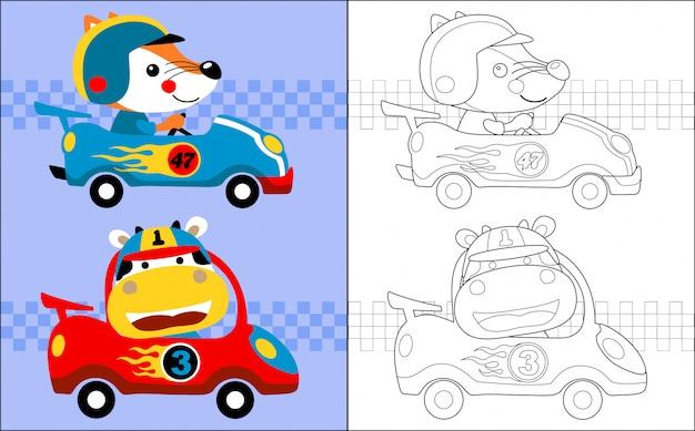 Caricature de course automobile avec coureur drôle Vecteur Premium