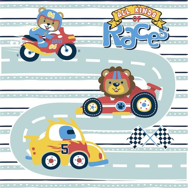 Caricature de course de sport avec coureur drôle Vecteur Premium