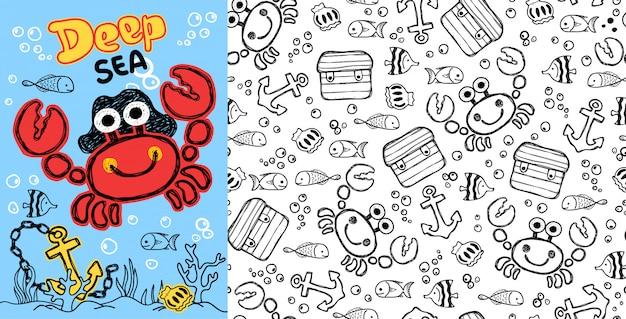 Caricature de crabe avec des poissons sur le modèle sans couture Vecteur Premium