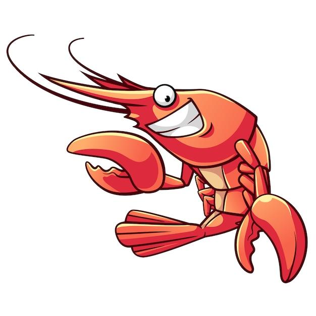 Caricature de crevettes Vecteur Premium
