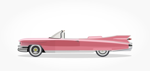 caricature de voiture d capotable classique rose avec effet de c t et ombre d taill e. Black Bedroom Furniture Sets. Home Design Ideas