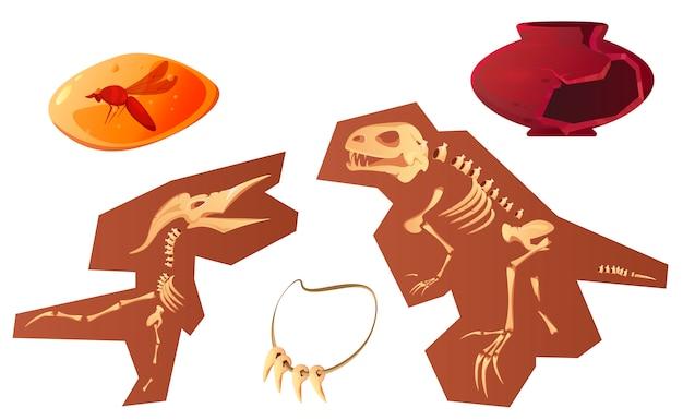 Caricature De Découvertes Archéologiques Et Paléontologiques Vecteur gratuit