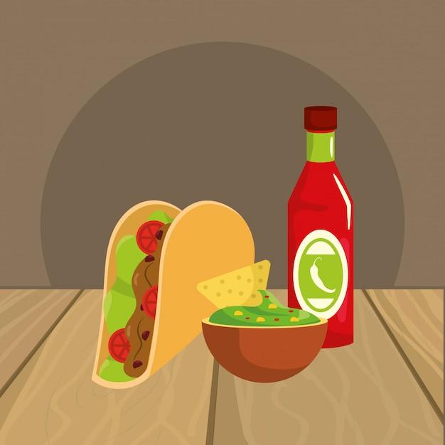 Caricature de délicieux plats mexicains sur la table de restaurant Vecteur Premium